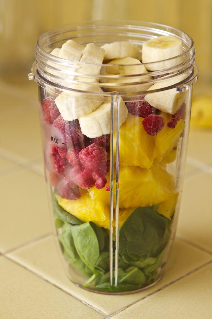 Spinach, Pineapple, Frozen Raspberries, Banana, Add Water & Blend.