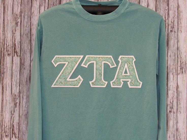 Seafoam Green Long Sleeve Shirt with Coordinating Seafoam Tonal Print Sorority Double Stitched Letters by MainStreetSorority on Etsy