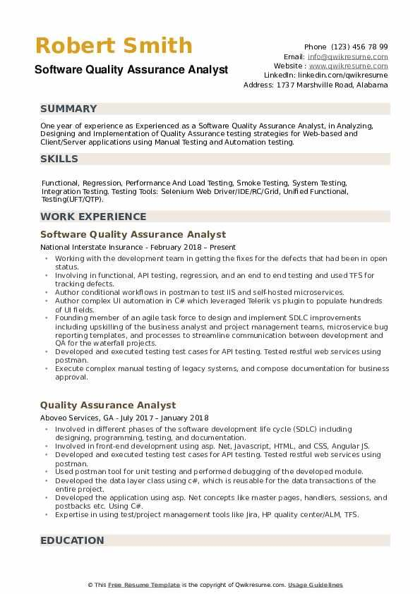 Software Quality Assurance Analyst Resume Samples Qwikresume In 2020 Resume Analyst Job Resume Template