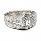 Jeulia Radiant Cut Created White Sapphire Wedding Set 6.92CT - Jeulia Jewelry