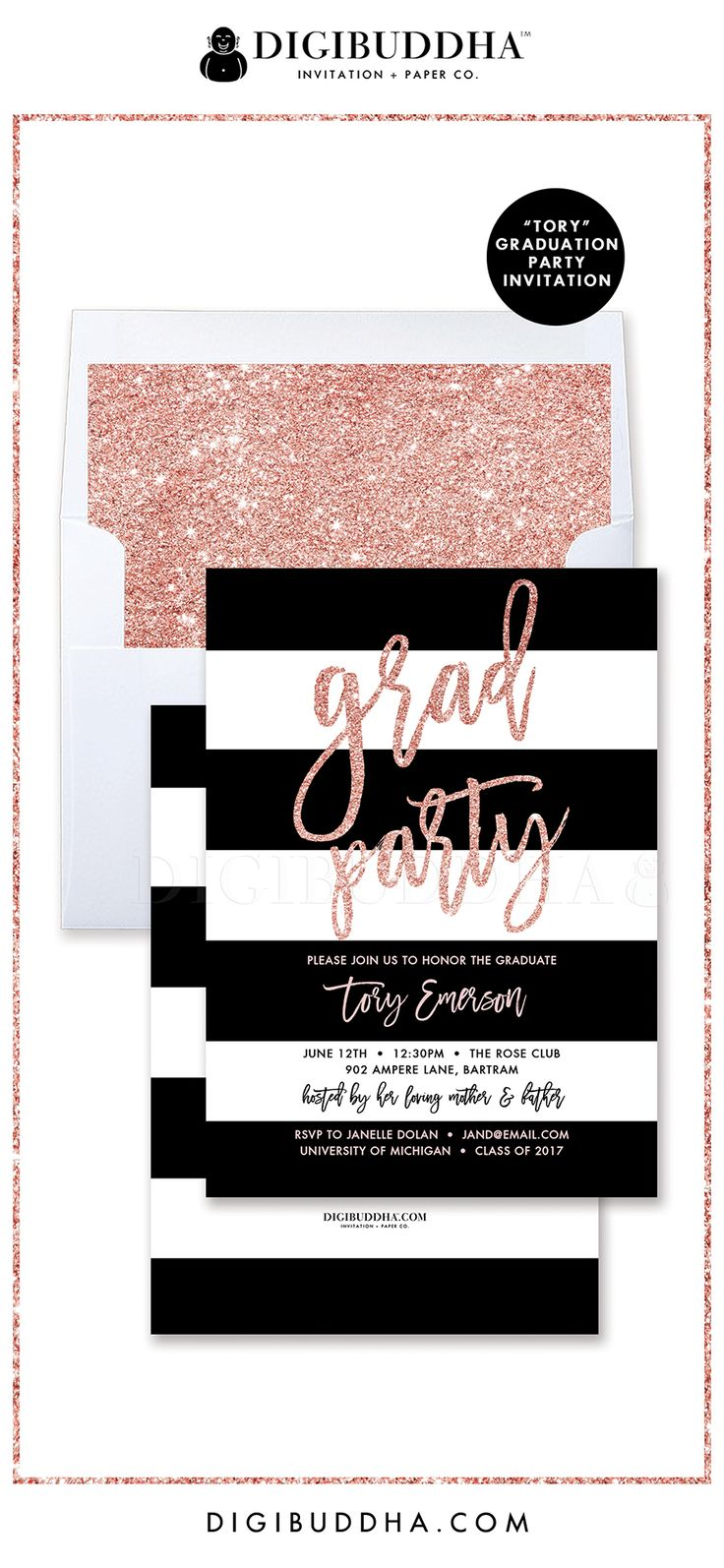 "Graduation Party Invitation, ""Tory"" style with a gorgeous classic black and white stripe pattern and modern Grad Party lettering in a beautiful rose gold blush pink glitter. Blush glitter liner also available, at digibuddha.com"