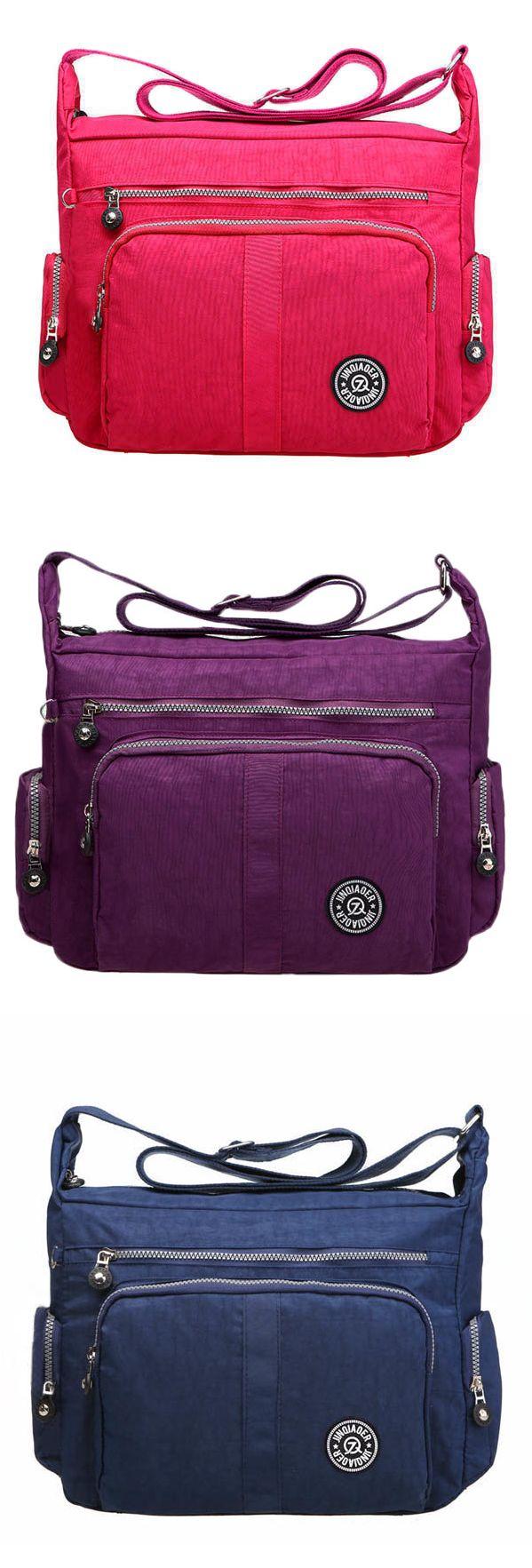 ea4d655e392 Women Nylon Waterproof Multi-pocket Zipper Shoulder Bags Crossbody Bags