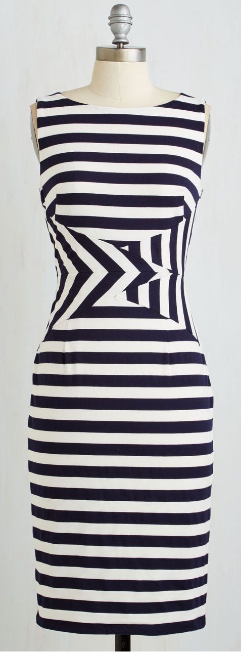 This is fun--I'd totally wear this; I love the way the waist is highlighted despite all the crazy stripes
