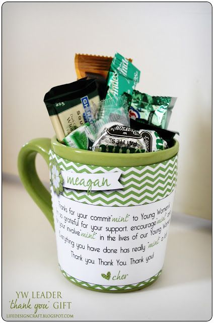 "Mint Mugs for YW Leaders --(Thanks for you commit""mint"" to Young Women's! I'm so grateful for your support, enourage""mint"" and for your involve""mint"" in the lives of our Young Women. Everything you have done has really ""mint"" a lot! Thank you, thank you, thank you!)"