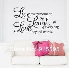 Gratis verzending: verkoop- promotie live love laugh letters transprent waterdichte vinyl muur citaten sticker/pvc muurstickers home decor(China (Mainland))