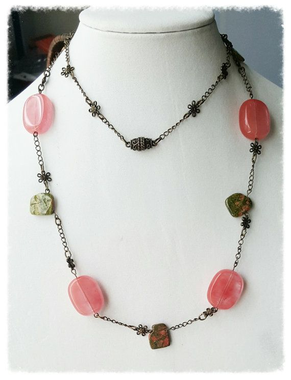Unakite and Strawberry Quartz Necklace by Earthcentricity on Etsy