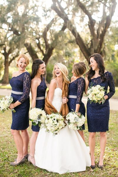 short navy bridesmaid dresses. Maybe something like this without sleeves since it will be hot outside