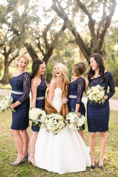 short navy bridesmaid dresses | Courtney Dox #wedding