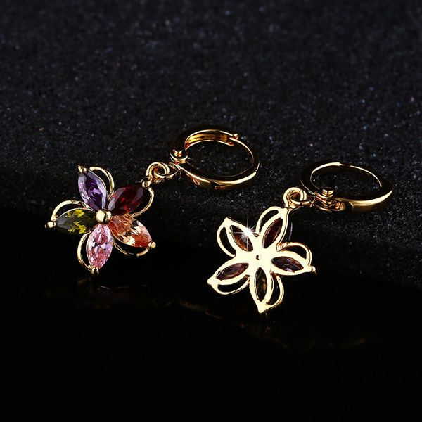 Gold Plated Colorful Zircon Crystal Flower Earrings Ear Studs For Women at Banggood