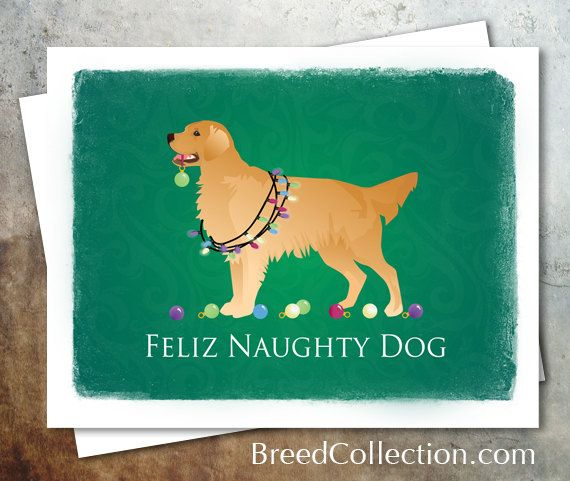 Golden Retriever Dog Christmas Card from the Breed Collection - Digital Download Printable