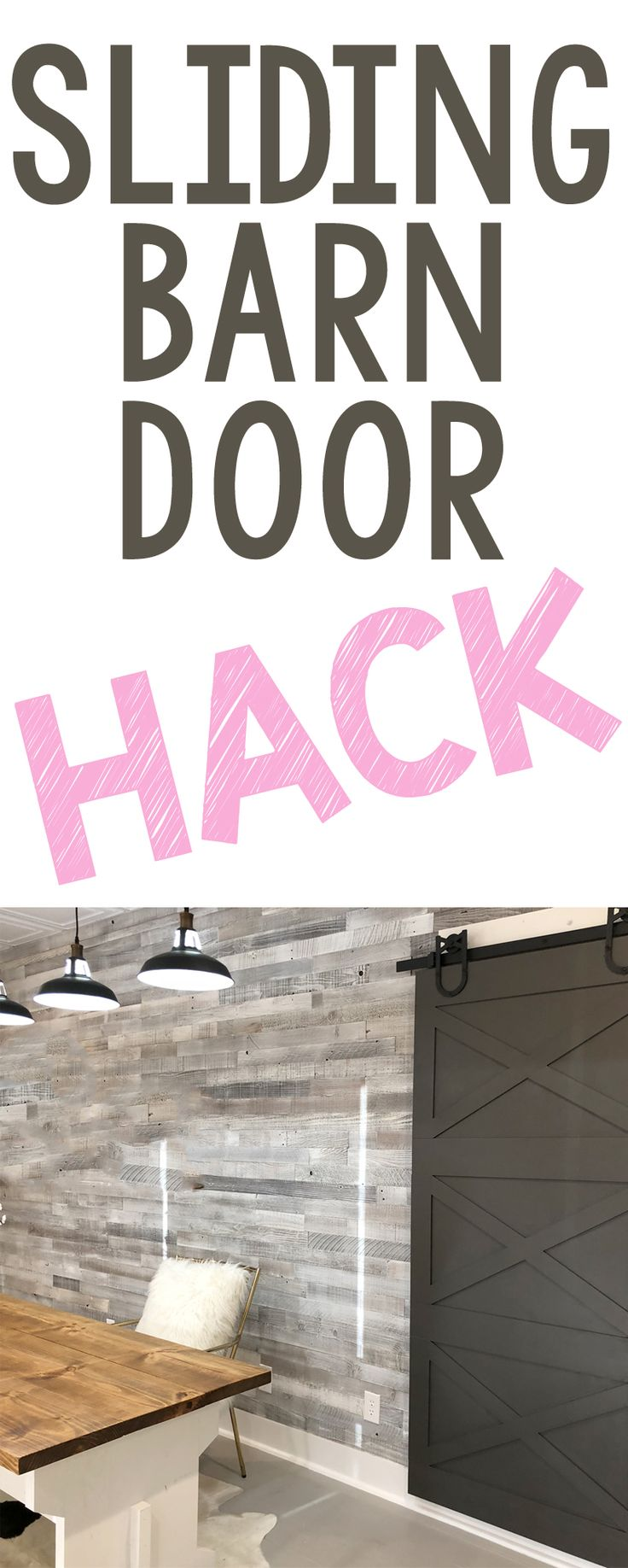 Inexpensive and EASY way to build a barn door! And this one can be customized to fit any style! YES PLEASE! #shanty2chic