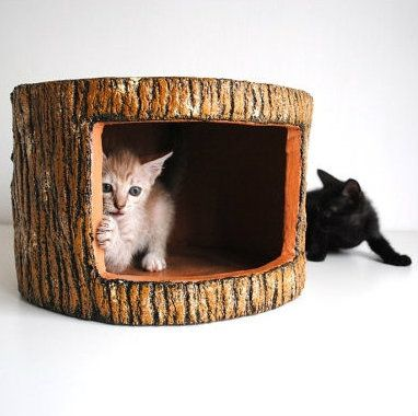 [Feline 101] Kitty Holiday Guide: Cool Gifts for Cats and Cat Lovers | Faux Bois Feline Hideout Stump ($62)