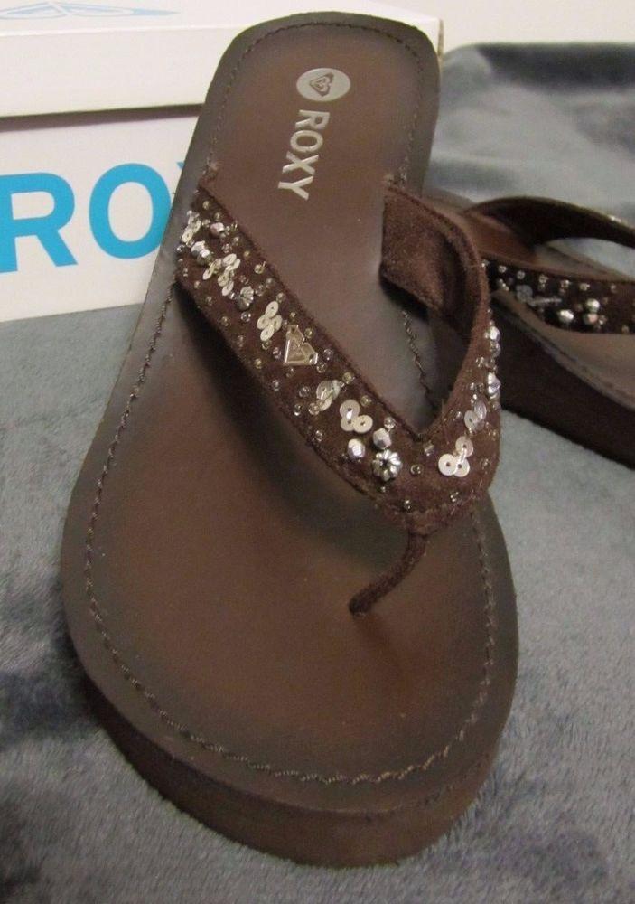 Roxy Womens Flip Flops 8.5 Brown Wedge Heel Sequins Beads