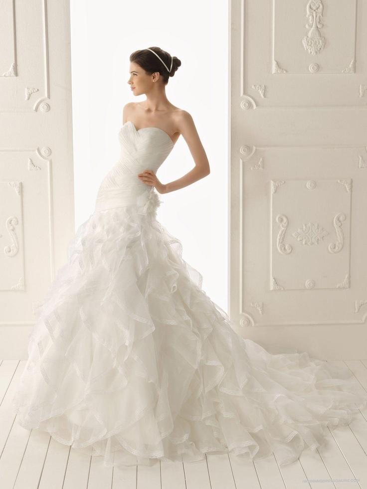 Organza and Lace Sweetheart Mermaid Style with Lavish Ruffle Skirt New Style Wedding Dress