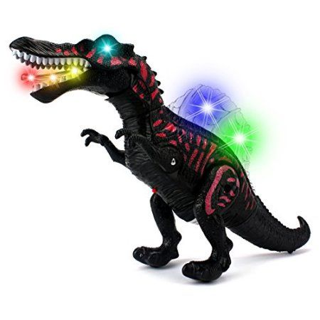 Dino Valley Spinosaurus Battery Operated Walking Toy Dinosaur Figure w/ Realistic Movement, Lights and Sounds (Colors May Vary)
