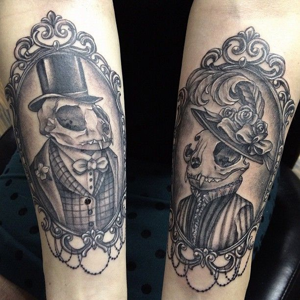 Tattoo of the day: Victorian cat husband and wife. #nofilter #melszeto #13diamonds #cat #tattoo #portrait #frame #skull | Flickr - Photo Sharing!