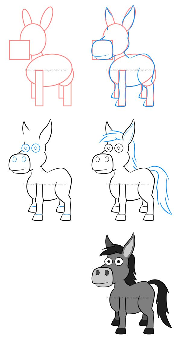 How to draw a donkey while adding volume using simple tips.