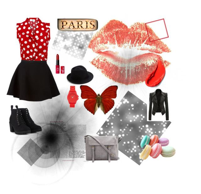 """""""Reds and blacks and butterflies"""" by caitymillner on Polyvore"""