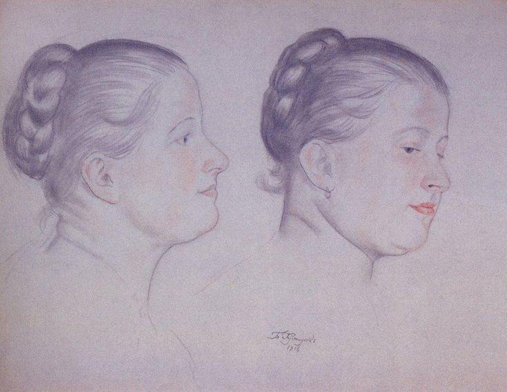 Two portraits of Annushka - Boris Kustodiev, 1918