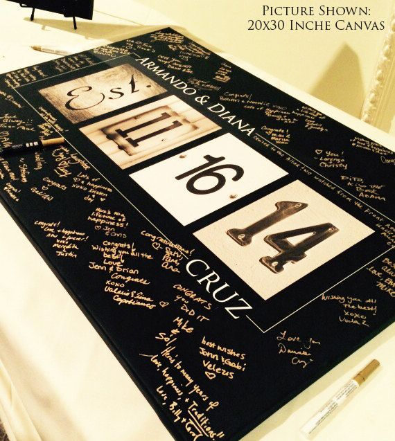 Wedding Guest Book Alternative // Numbers Art // Free Upgrade to Gallery Wrapped Canvas - Limited Time Only // Fits 55-350 Signatures by alphabetcanvas on Etsy https://www.etsy.com/listing/166691128/wedding-guest-book-alternative-numbers