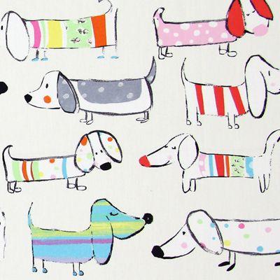 Sausage Dog 1 - Kids Fabrics - Nursery Material :-)