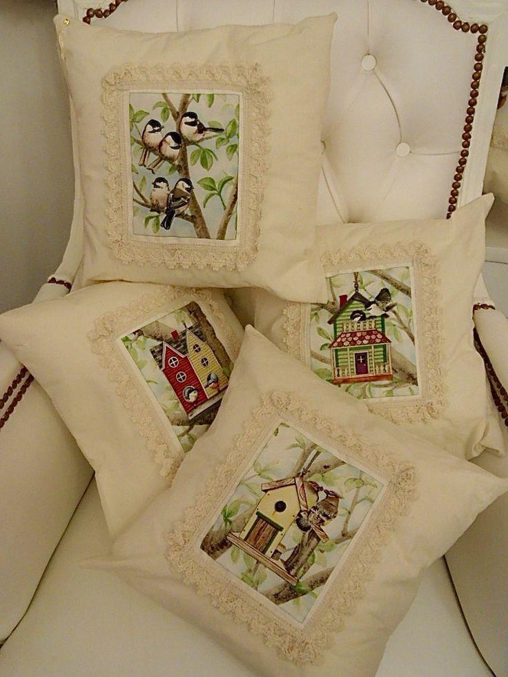 Romanticos almohadones con pajaritos, algodón con puntillas, 35x35cm