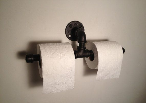 Toilet Paper Holder RUSTIC INDUSTRIAL by SkidawayPipeWorks on Etsy, $29.99