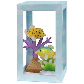 Paper Aquarium : Bluespotted boxfish made from free printables  #printables #aquarium #fish