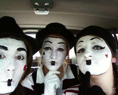 Mime Face Paint, Mime Makeup, Circus Costume, Halloween Costume Makeup,  Face Paintings, Pantomime, Costume Ideas, Clowns, Henna