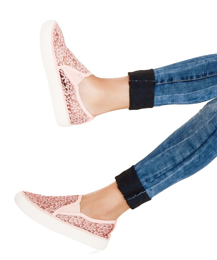 Everyday wear just got more romantic and fun with these feminine, lacy shoes #PinkEspadrilles #Espadrilles #sneakers #Pinksneakers #casual #day #Pink
