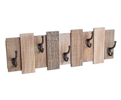 Perchero de pared en madera de abeto Inca, natural - 72x24 cm