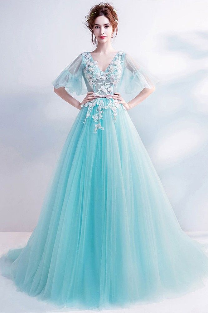 b5f9a31d0bc Buy Fantasy Blue Flowy Tulle Long Prom Dress V-neck With Flowers at  wholesale price online. Free shipping and pro custom service since 2009.
