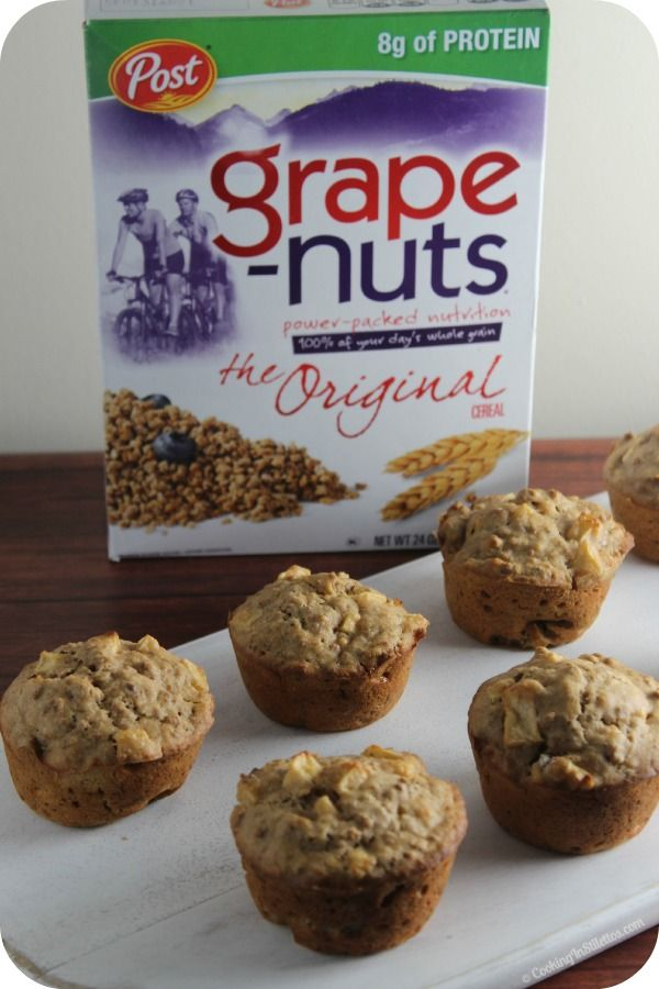 Spiced Apple Breakfast Muffins - moist, full of apples and spice and a bit of crunch thanks to Grape-Nuts | Cooking In Stilettos  http://cookinginstilettos.com/spiced-apple-breakfast-muffins/  #PostWalgreens #PMedia #Ad