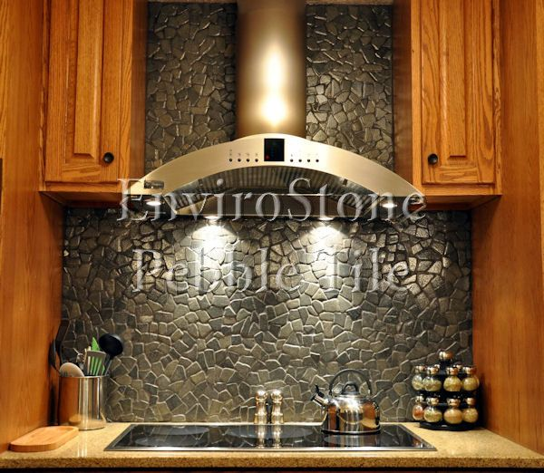 Cool Kitchen Tile Ideas: Unique Pebble Backslash. Will Be Stunning With Sleek LG