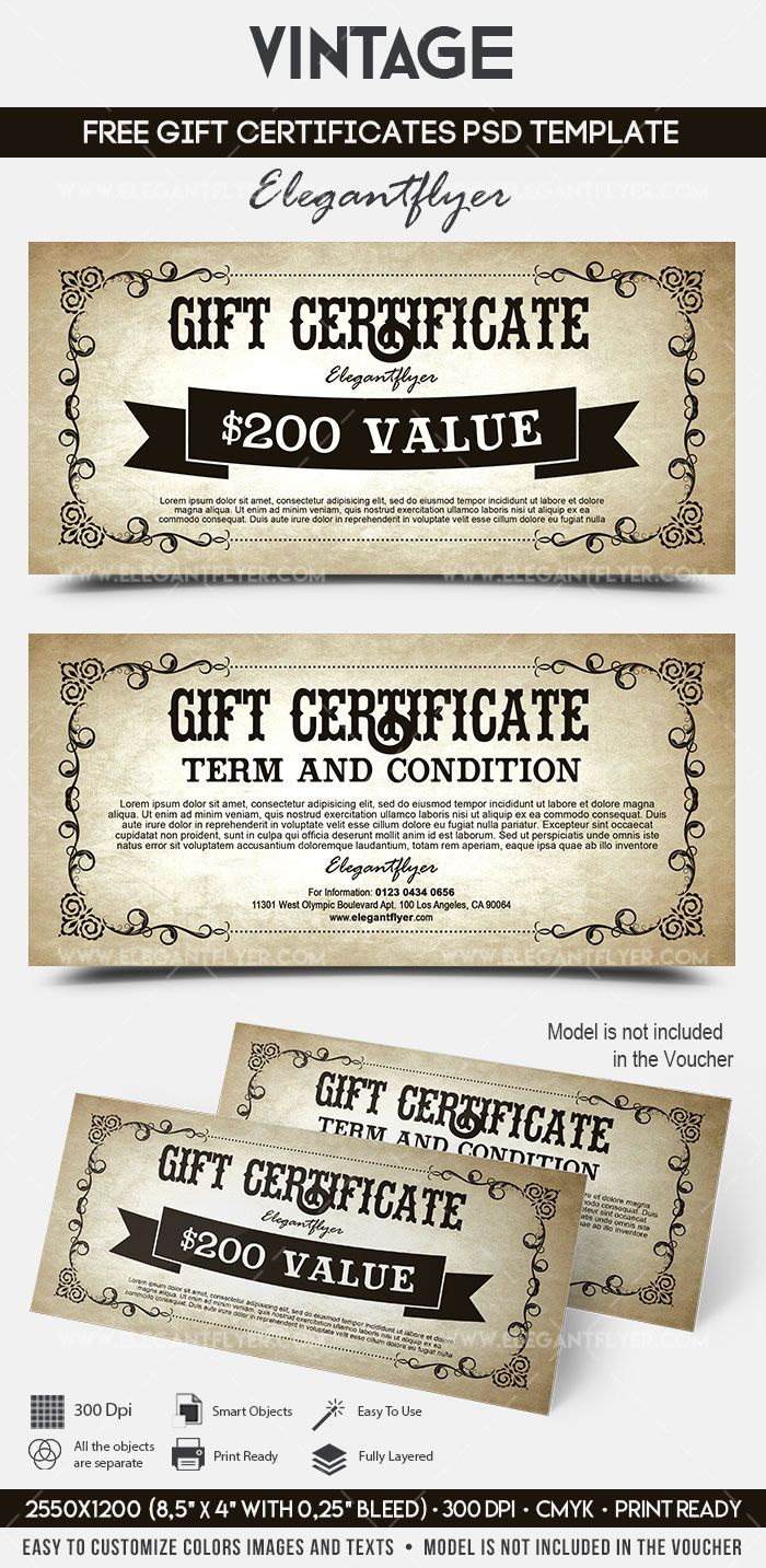 The Stunning Vintage Free Gift Certificate Psd Template Inside Gift Certificate Template In 2020 Gift Certificate Template Free Gift Certificate Template Free Gifts