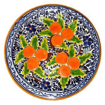 Round Talavera Oranges Plate
