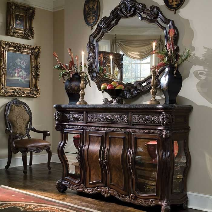 The Cornwall Manor Sideboard and Mirror is part of our <i>Designer Collection</i><br><br />The elaborately carved Cornwall Manor Sideboard is crafted from birch solids. The beveled, high-quality mirror is expertly placed in a beautifully carved frame to add an artistic touch to your room.  [$0.00]