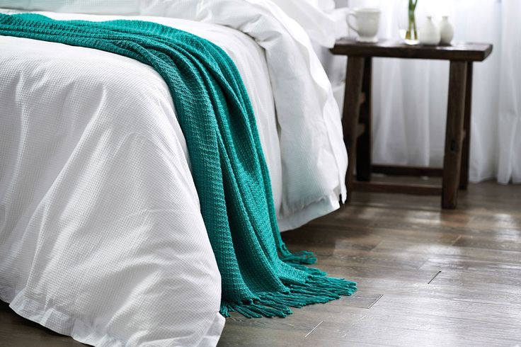WYNDHAM PLAIN THROW in Jade from Bed Bath & Table