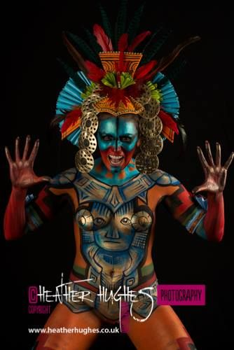 Mayan Warrior model Divi Cano Body art and headpiece byJenny Marquis Image Heather Hughes #body art #Maya #paint #concept #art #Aztec #