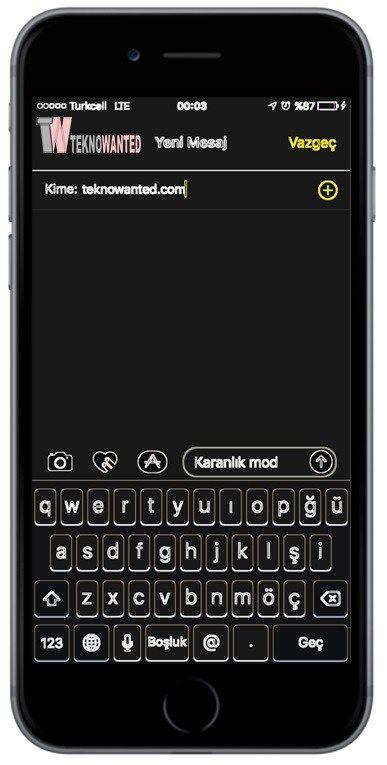 """iPhone """"karanlık mod"""" özelliği"""