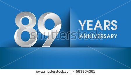 89 years Anniversary celebration logo, flat design isolated on blue background, vector elements for banner, invitation card and birthday party.