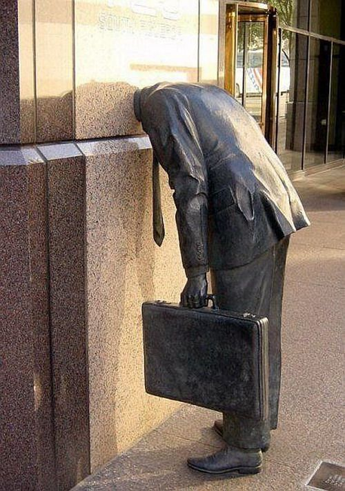 'Corporate Head' - statue by Terry Allen (1991); Ernst & Young Building, Los Angeles, CA; ... They said I had a head for business. They said to get ahead I had to lose my head. They said be concrete and I became concrete. They said, 'Go, my son, multiply, divide, conquer.' I did my best. - Philip Levine
