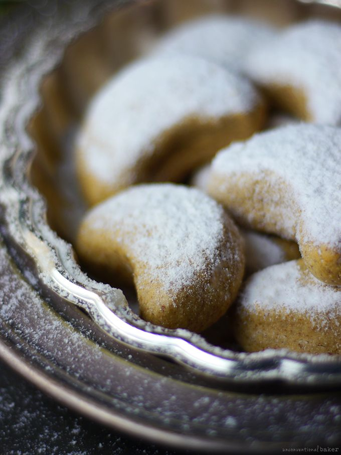 Almond Crescent Cookies (Free from: gluten, dairy, eggs, gums, oil, and refined sugar)