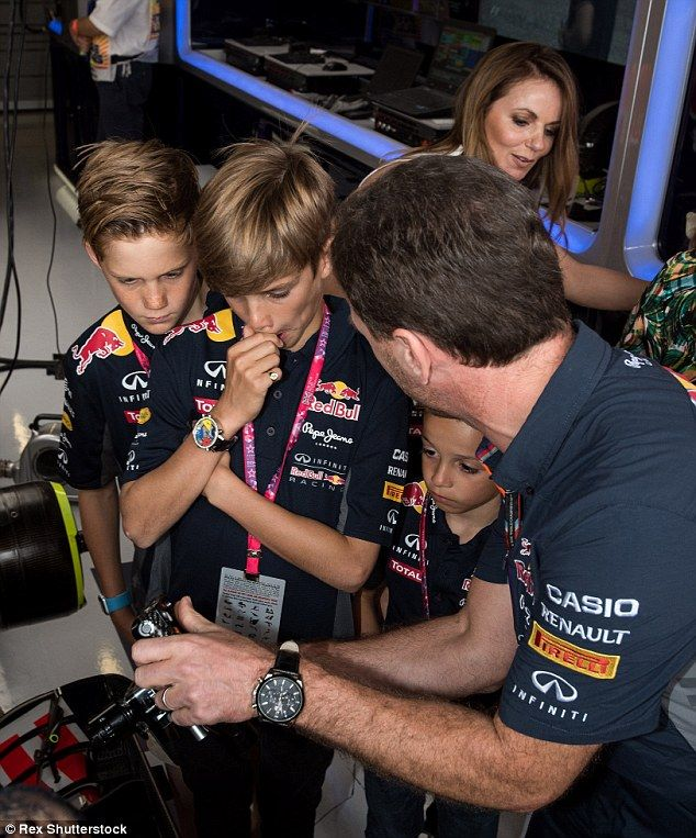 Hands-on: Victoria Beckham and Emma Bunton's boys got to view some technology at play - thanks to a tutorial with Christian Horner.