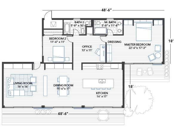 Blu Homes Glidehouse floorplan 2 bedroom