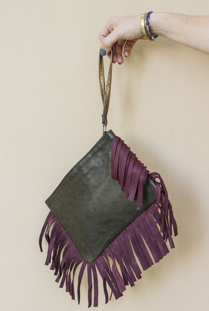 Leather Fringe Patchwork Clutch