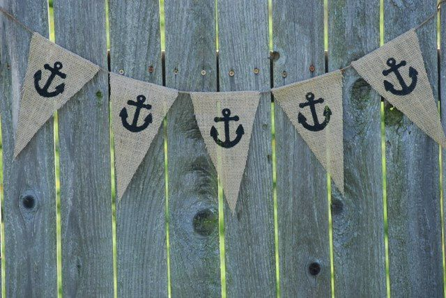 Burlap Banner- Nautical Anchors @Adrienne Hollister Jacobus for the sweets bar