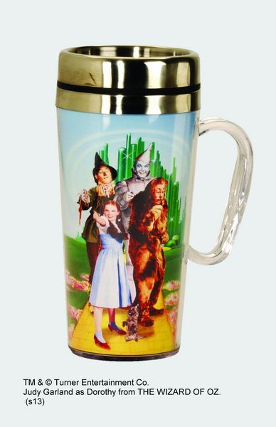 Dimensions: Aprox. 7 inches in Height Made of Insulated Stainless Steel Double walled with a stainless steel inner wall Holds 15oz. of Liquid Lid is removable Dorothy & Toto, Scarecrow, Tin Man, and t