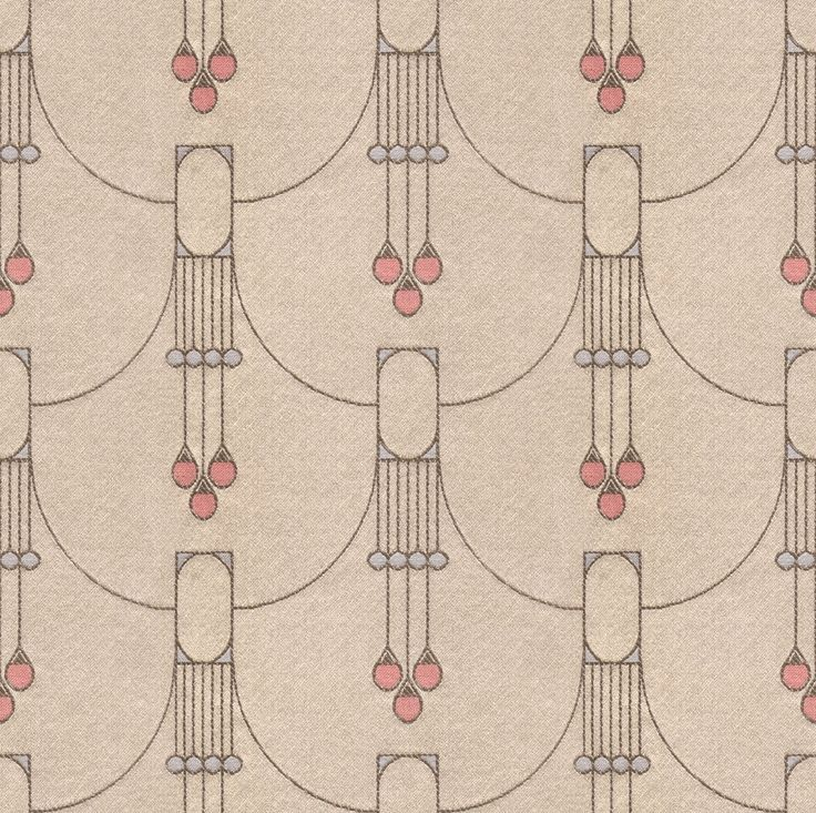 Art Deco Art Nouveau Cream, Red And Blue Flat-Weave Curtain and Upholstery Fabric | Backhausen Art Deco Vineta from Loome Fabrics