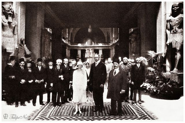 King Fouad I of Egypt at Cairo Museum with King Albert I  Queen Elisabeth of Belgium During Their Visit to Egypt In 1930